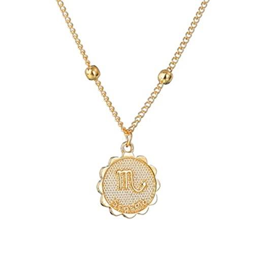 CXWK 12 constelación Signo del Zodiaco Collar de Oro para Mujeres joyería de Oro Colgante de Collar de astrología