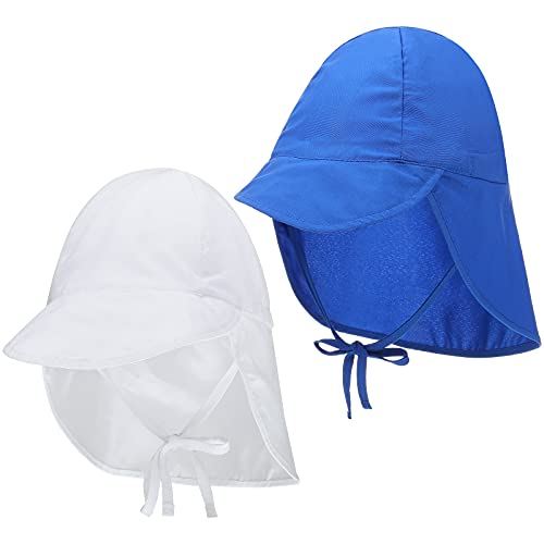2 Stücke Baby Sonne Mütze Hüte Kinder Klappe UPF 50+ Sonnenschutz Hut Einstellbar Nackenschutz Mütze Breite Krempe Strand Hut