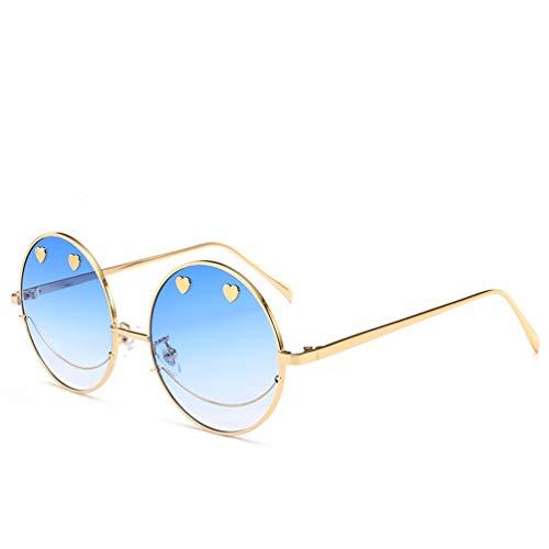 YWYU Moda clásica Lindo Smiley Gafas de Sol Anti radiación UV400 Gafas de Sol Marco de Metal Lente de PC Adecuado para Conducir Fiesta en la Playa (Color : B)