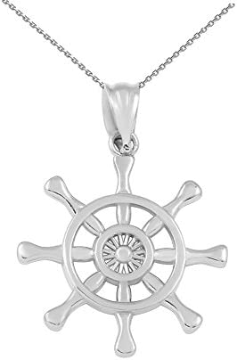 925 Sterling Silver Nautical Ship Steering Wheel Pendant Necklace 16 product image