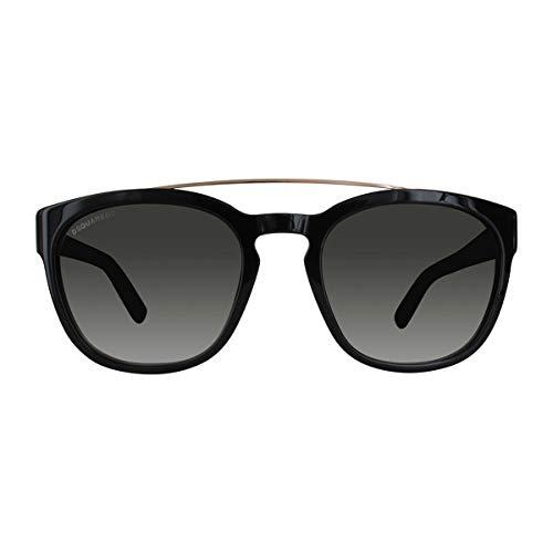 DSQUARED2 DQ0164 01B 54 Monturas de gafas, Negro (Negro LucidoFumo Grad), 54.0 Unisex Adulto