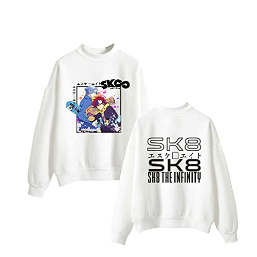 Novo moletom unissex SK8 The Infinity gola redonda Anime Langa Joe Reki moletom moletom com capuz legal streetwear pulôveres, Branco - C, S