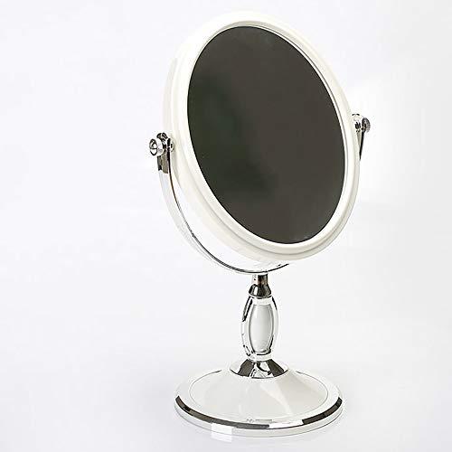 Desktop Dubbelzijdige Make-up Spiegel Vergroting HD Spiegel Desktop Spiegel Milieubescherming Materiaal Gezond en duurzaam Badkamer Spiegel Diameter 13,5 CM Kleur: wit