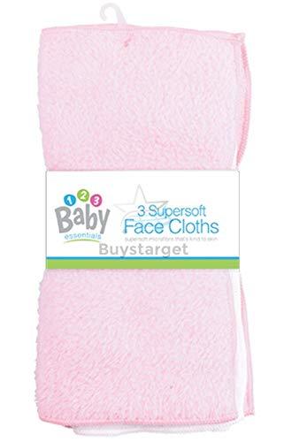 Super Zachte Baby Gezicht Doeken Badflanel wassen Handdoeken (3 Pack) Roze en Wit