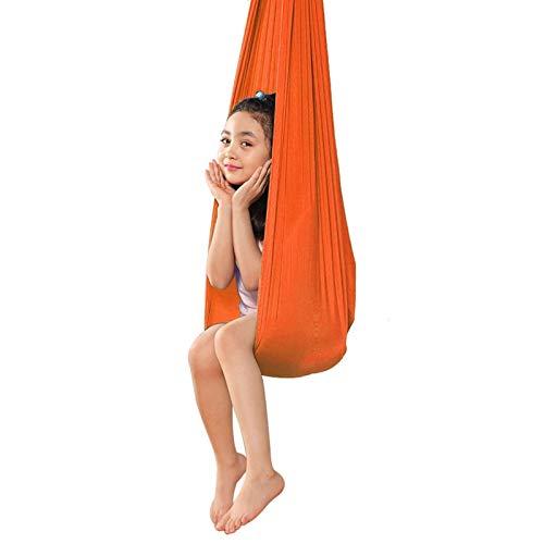 LICHUXIN Hamaca Terapia Yoga Aérea con Carga 200Kg Columpio Sensorial De Yoga Ideal para Necesidades Sensoriales Autismo ADHD SPD (Color : Orange, Size : 150x280cm/59x110in)