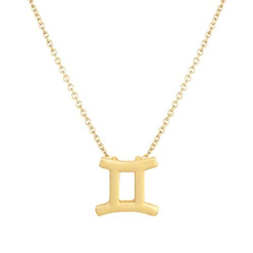 BGPOM Halskette Sommer Zwölf Sternbild Halskette Sternbild Anhänger Karte Schlüsselbein Kette, Zwillinge Gold