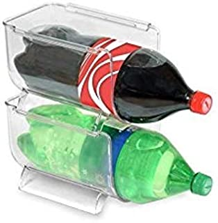 DINY Home & Style Stackabale Fridge & Freezer Safe Soda Bottle Holder Space Saver Pantry, Countertops and Cabinets - Holds 2-Liter Bottles BPA Free (Clear, 1)
