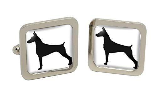 Giftshop UK Dobermann Pinscher Silhouette Quadratische Manschettenknöpfe in Chrom Kiste