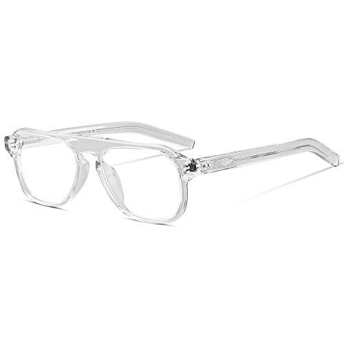 EyeGlow Kingsman - Occhiali da uomo con montatura in acetato, lenti trasparenti Trasparente Medium