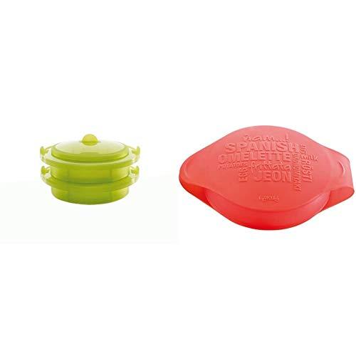 Lékué Vaporera Doble Verde 2 Niveles, Silicona, 22 cm + Spanish Omelette - Molde para Tortilla española, Color Rojo
