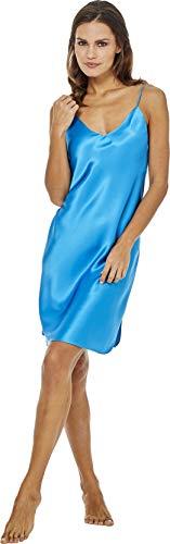 Jadee Damen Seiden Nachthemd Nachtkleid Negligee aus 100% Seide - Horizon Blue - S -