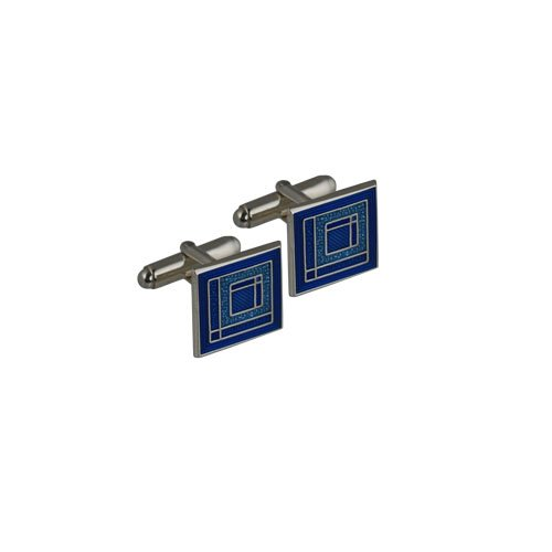 Boutons de manchette en émail pivotantes carré Argent 16mm