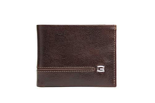 Giudi Cartera de lujo para hombre, hecha en Italia, de piel de vaca, 2 bolsillos para dinero en efectivo, 9 tarjetas de crédito, ventana de identificación, regalo atractivo y caro para hombres