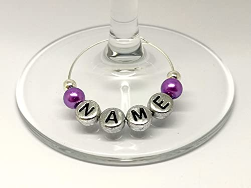 Personalised Name Purple Pearl Wine Gin Prosecco Glass Charms Wedding Hen Party