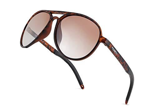 FEISEDY - Gafas de sol de aviador polarizadas clásicas para mujer y hombre, marco flexible TR90 B2608