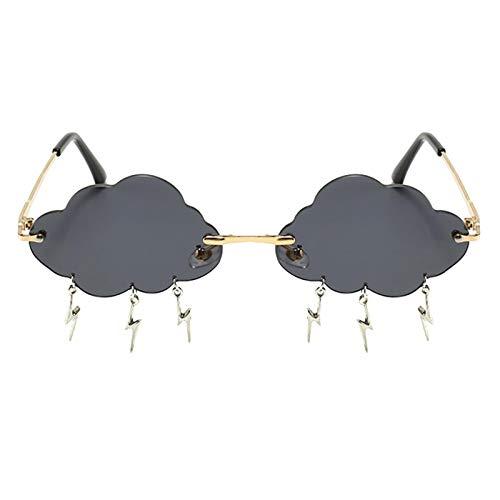 Sharplace Moda Gafas de Sol sin Montura Mujeres Vintage Nubes Forma Lente Borla Colgante Steampunk Gafas Punk Gafas - Gris