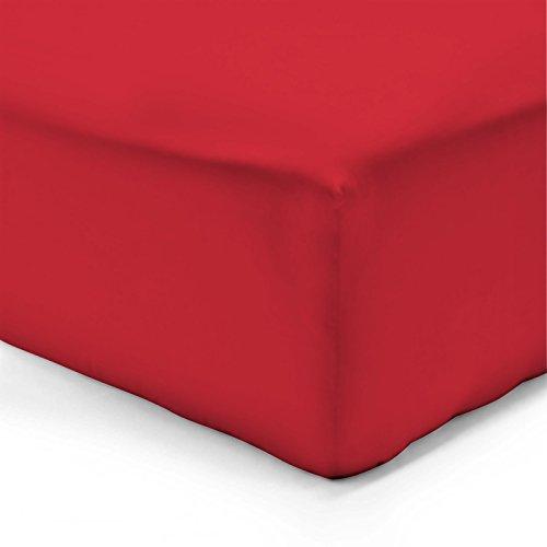 Hoeslaken rood - 160 x 200 cm - 100% katoen