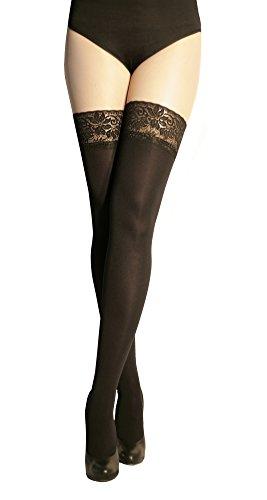 Marilyn blickdichte halterlose Strümpfe mit 9 cm Spitze, 100 Denier, Größe 42 (XL), Farbe Schwarz (nero)