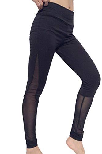 Targogo Frauen Workout Fitness Laufentraining Yoga Leggings Hose Mädchen Elastische Taille Skinny Stretch Jogginghosen Trousers (Color : Schwarz, Size : M)