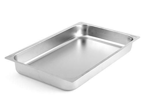H&H Teglia in Acciaio Inox, Bordo Piano, Gastronorm, Inossidabile, Argento, 53x32.5x6.5 cm