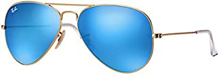 Ray-Ban Aviator Unisex Sunglasses Gold Frame Blue Flash Lenses. 62mm (large size). UV Protection and Maximum Comfort. 100% Authentic. Made in Italy.