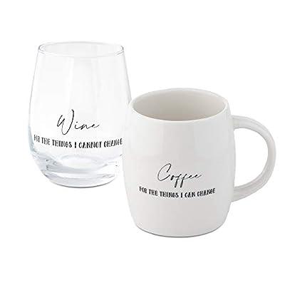 Coffee Mug Wine Gift Set, White Cup and Stemless Wine Glass Set for Coworkers Best Friend Teacher Doctor Nurse Dentist Women Men Graduation Wedding Birthday Present Secret Santa Holiday (Change)