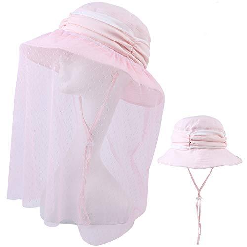EQLEF Frauen Sonnenhut mit Moskitonetz Abnehmbar, Floppy Sun Cap Breiter Krempe Packbar mit verstellbarem Windseil für unterwegs Angeln Gartenarbeit und andere Outdoor-Aktivitäten