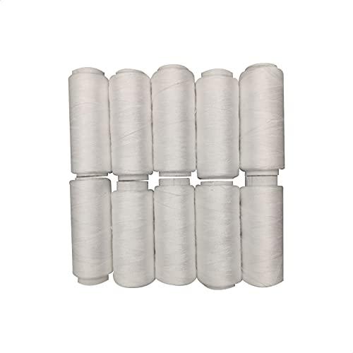EUROXANTY Hilo de Coser   Bobinas de hilo   100% Poliéster   Máquina de Coser   Para Hilvanar   Para Bordar   Hilo resistente   Pack de 10   Blanco  