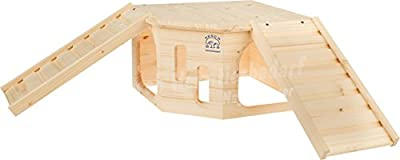 Resch No32 Rodent Corner XL Natural solid wood made of spruce /With 2 hidden entrances under the two staircases and an enormous roof patio area by Resch Heimtierbedarf