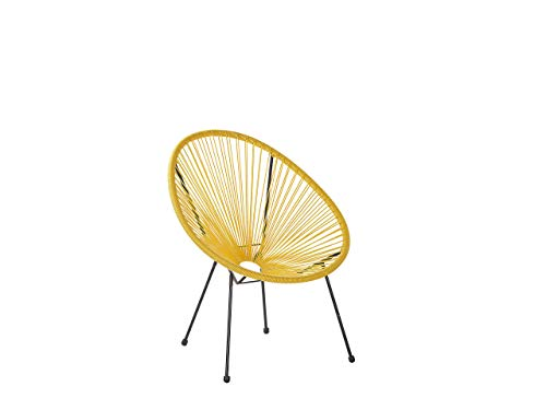 Beliani Lustiger Gartenstuhl Spaghetti Stil Rattan gelb Acapulco