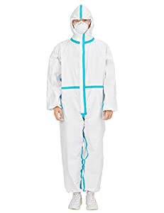 Disposable Coverall Suits with Hood Full Body Medical Protective Clothing Anti-dust Isolation Suit Elastic Wrist Ankles Coverall Suits XS-XXL