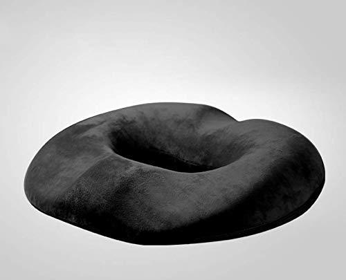 Memory Foam Rutschfeste Sitzkissen - Hämorrhoidenbehandlung Donut-Steißbein-Kissen, Prostata-Kissen, Schwangerschaft, Nachwuchs, Wundliegen, Steißbein, Ischias, Ultra Premium Comfort Foam,Schwarz