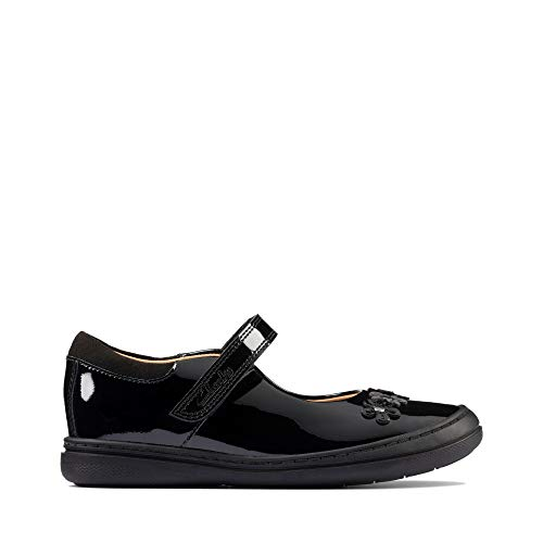 Clarks Scooter Jump K Girls School Shoes 32.5 Negro Patente