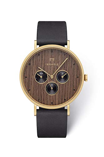 KERBHOLZ Holzuhr Uhr – Elements Collection Caspar analoger Herren Chronograph, Naturholz Ziffernblatt,...