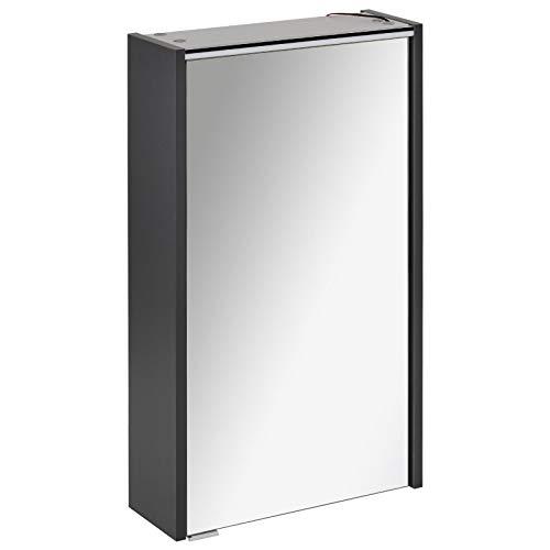 FACKELMANN smalle spiegelkast badkamer LED-verlichting 1 deur 42 cm antraciet Denver