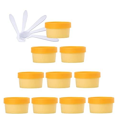 TIANZD 10 Pieza Envases Cosmética Plástico Amarillo 50ml Tarro de Cosmética 50 g Cuenco de Mascarilla con Tapa para Barro de Máscara Cremas Hidratantes Loción Ungüento Sal de Baño conEspátulas