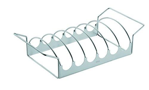 RÖSLE Braten- und Rippchenhalter, Edelstahl 18/10, 40 x 20,5 x 10,5 cm, Bratenkorb, Backofengeeignet, spülmaschinengeeignet
