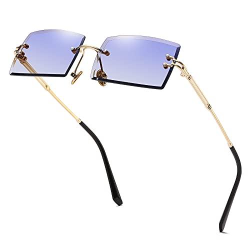 Ovale Ultra-Small Frame Sonnenbrille für Frauen Männer Rechteck Retro durchsichtige Linse randlose Sonnenbrille