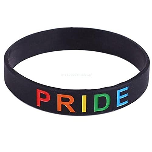 Pulsera de silicona unisex del alfabeto del arco iris deportes pulsera seis colores gay lesbiana orgullo pulsera de silicona pulsera