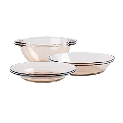 ZH Bol à salade, Vaisselle en verre Ambre Transparent Résistant à la chaleur Type épais Four à micro-ondes Ensemble 6 pièces