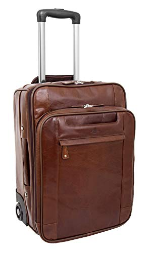House of Luggage Exklusiv Hohe Qualität Original Braun Leder Koffer Kabinengröße Handgepäck Cruise