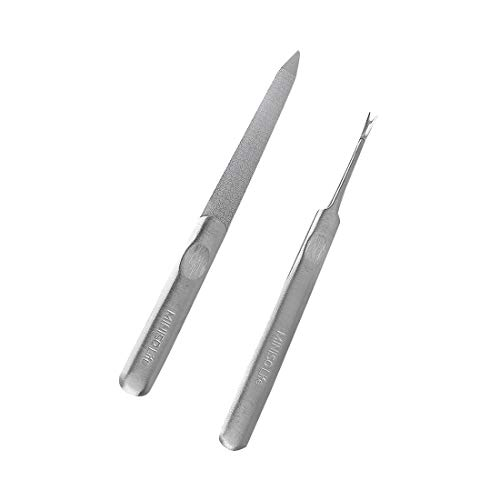 MINISO Silver Stainless Steel Manicure Kit Set Tool, Nail Files + Cuticle Pusher