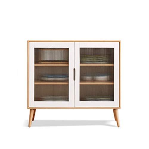 Inicio Equipamiento Aparador Aparador Moderno Minimalista Europeo Gabinete de té de madera de haya Armario de almacenamiento económico nórdico para la entrada de la sala de estar (Color: Natural Ta