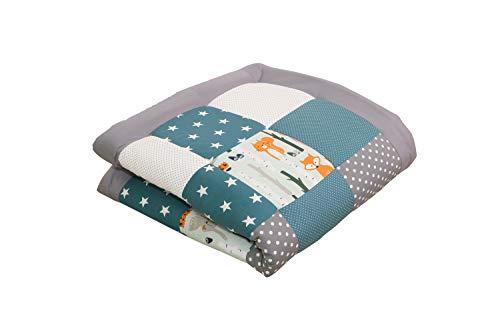 ULLENBOOM ® Baby Krabbeldecke Waldtiere Petrol (100x100 cm Baby Kuscheldecke, ideal als Laufgittereinlage, Spieldecke, Motiv: Punkte, Sterne, Patchwork)