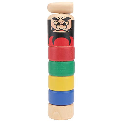 TOYANDONA Juego de Apilamiento de Torres de Madera Juego de Apilamiento de Equilibrio Apilador de Arcoíris Juguetes de Aprendizaje para Niños Pequeños Bloques de Construcción de Torre de