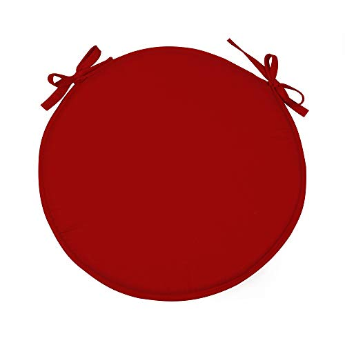 SIMPVALE Set di 4 Cuscini Rotondo per Sedie, Poltrone e Torte, Rosso, Diametro 38cm
