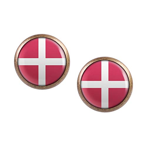 Mylery Ohrstecker Paar mit Motiv Dänemark Denmark Kopenhagen Flagge bronze 12mm