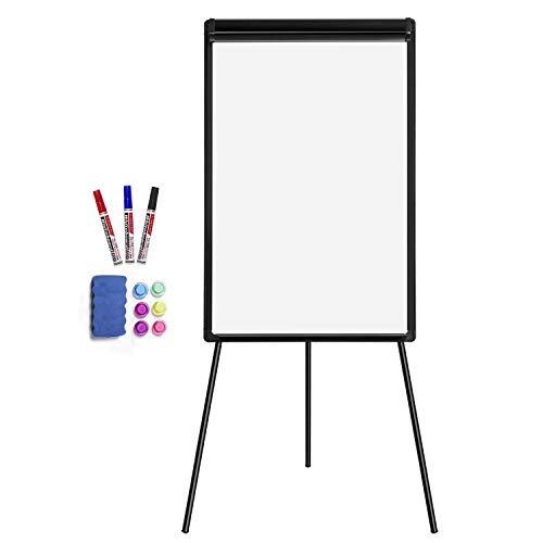 White Board Easel Stand Magnetic Whiteboard Flipchart Tripod Easel Height Adjustable Dry Erase Board with 1 Eraser, 3 Markers, 6 Magnets, 24x36 inches, Black