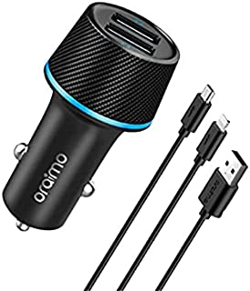 Oraimo Highway Car Charger with 2 in 1 Cable, 1.2M Lightning & Micro USB Cable, Dual USB Output, Ultra Compact, LED Light ...
