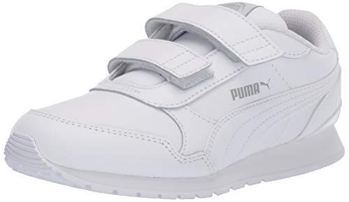PUMA Unisex-Child ST Runner 2 Hook and Loop Sneaker, White-Gray Violet, 3 M US Little Kid